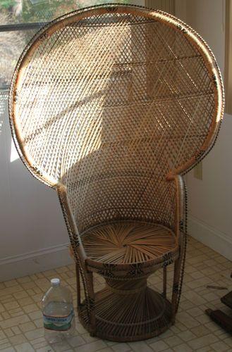 """Antique Wicker Rattan Peacock Fan Back Chair Vintage Big 58 5"""" x ."""