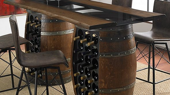Loire Double Wine Barrel Gathering Table With Glass and Wood T