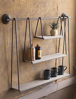 Wood And Metal Triple Hanging Shelf | Diy hanging shelves, Hanging .