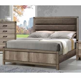 Matteo Light Grey Wood Full Bed w/ Upholstered Headboard by .