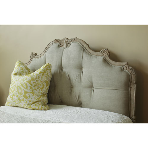 Florentine Palace Upholstered Headboard with Carved Wooden Frame .