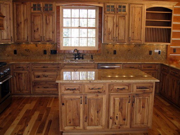 Rustic hickory kitchen cabinets – solid wood kitchen furniture .