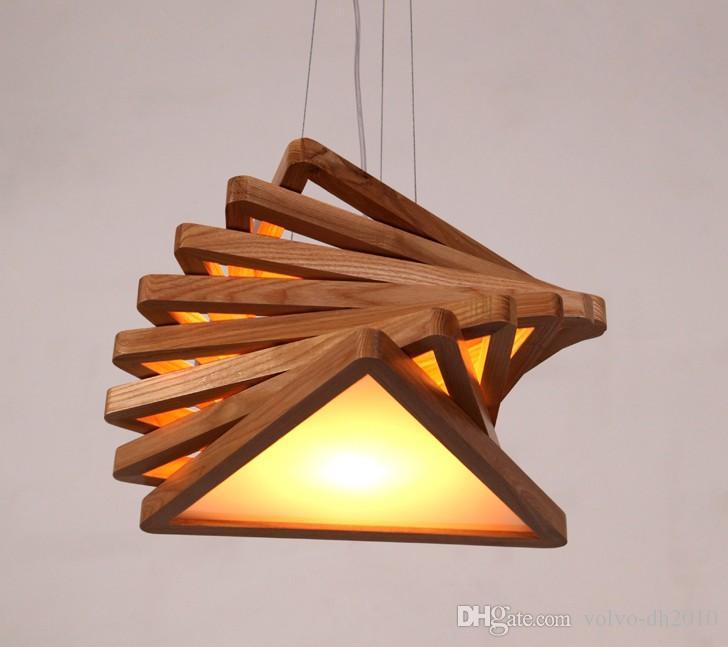 Modern Art Wooden Pendant Lights Cord Hanging Wood Acrylic E27 .