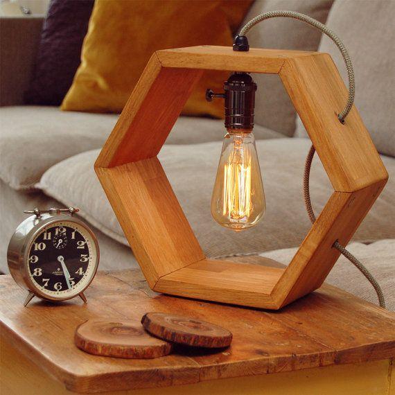 Wooden handmade Vintshop hexagon design table lamp with Edison .