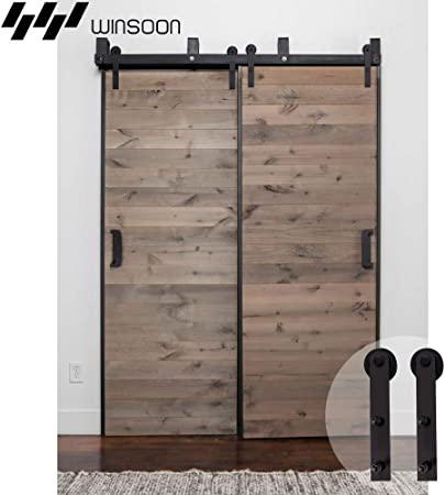 Amazon.com: WINSOON Bypass Sliding Barn Wood Door Hardware .