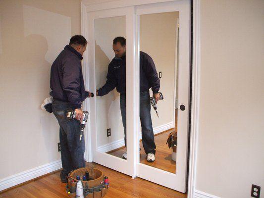 Solid Wood Sliding Mirrored Closet Doors... | Mirror closet doors .