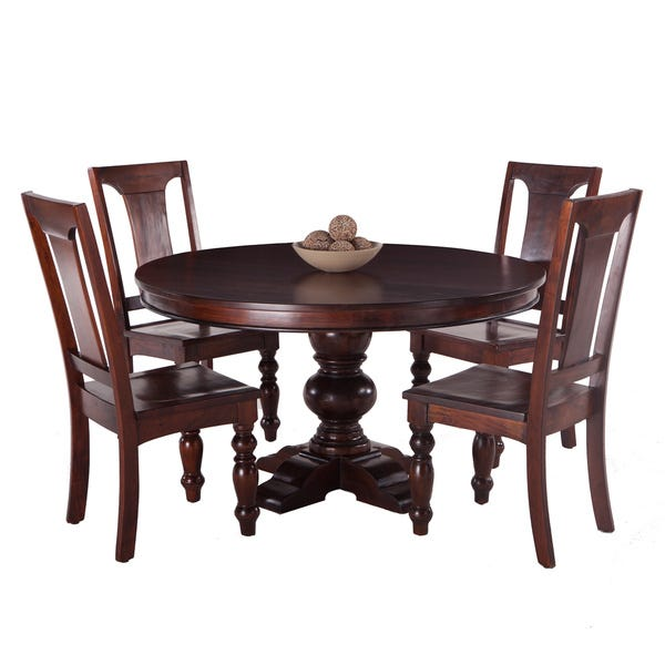 Shop Pearl Grove Solid Mango Wood Round Dining Table and Set of 4 .