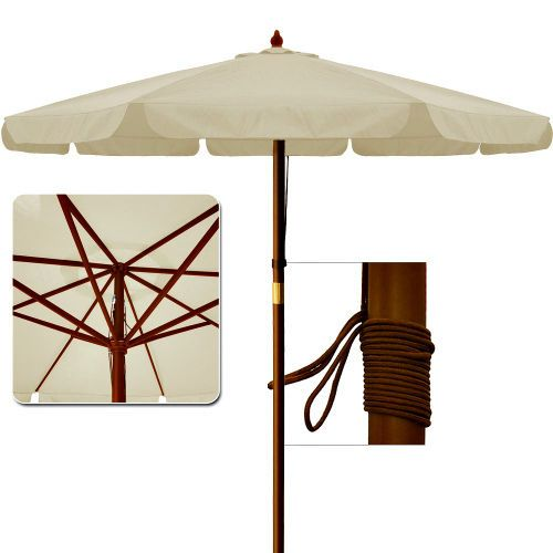 Wooden Garden Parasol Large Patio Umbrella Outdoor Sun Shade .