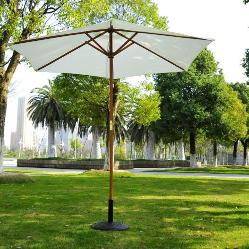 Details about 2.5m Wood Wooden Garden Parasol Sun Shade Patio .