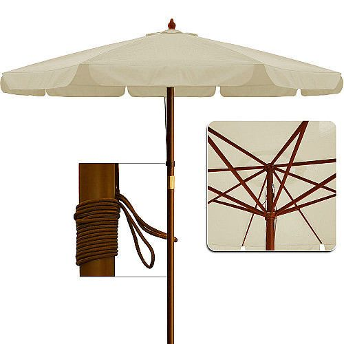 Beige Garden Parasol Patio Umbrella Wooden Pole Outdoor Sun Shade .