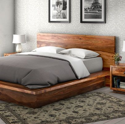 California Modern Solid Wood King Size Platform Bed Frame 3pc .