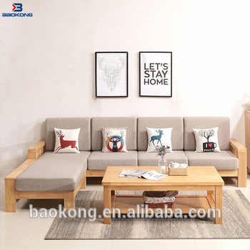 Latest Design Rubber Wood Living Room Furniture Corner Sofa Set .