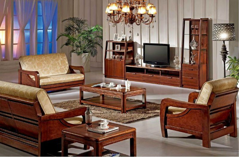 Traditional wooden living room furniture sets with TV and hanging .