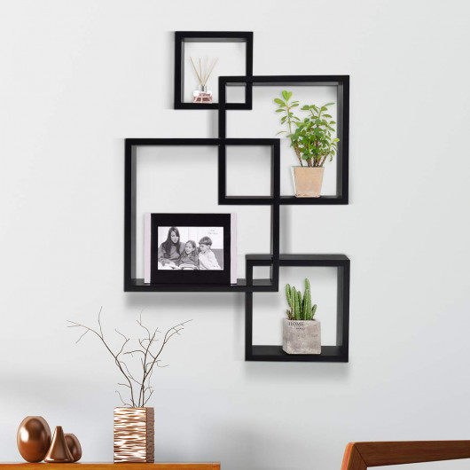 Giantex 3 Cube Intersecting Floating Shelves Square Wall Mounted .