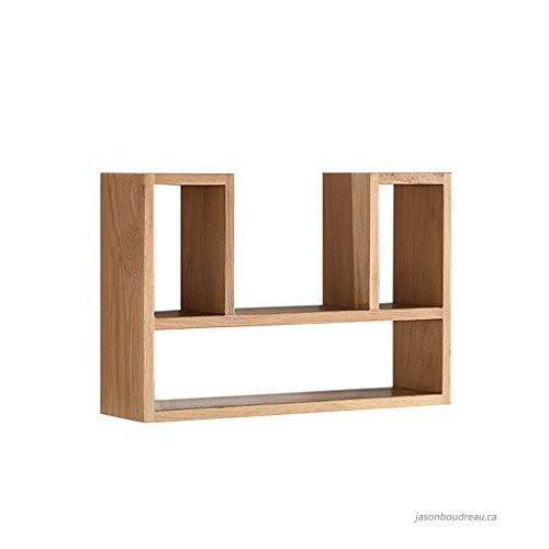 Solid Wood Wall Mounted Shelf Oak Floating Shelves Natural Wood .