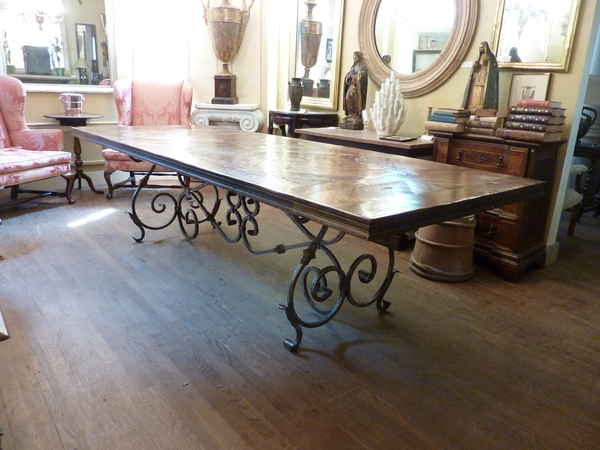 French Wrought Iron and Parquet Dining Tab