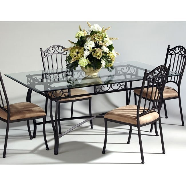 Wrought Iron Rectangular Glass Dining Table Chintaly Imports .
