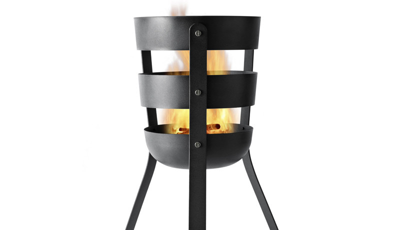 Black basket fire pit