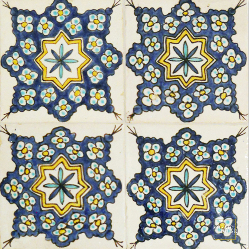 hand-painted mosaic tiles