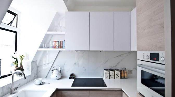 White cabinets studio kitchen