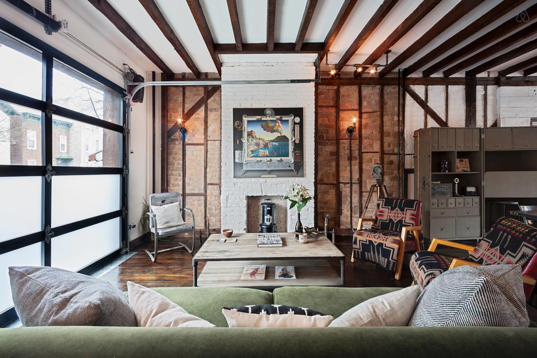 industrial vintage Brooklyn living room