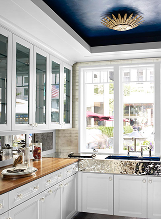 painted ceiling small kitchen ideas
