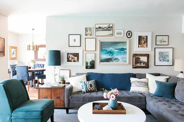 monochromatic living room details
