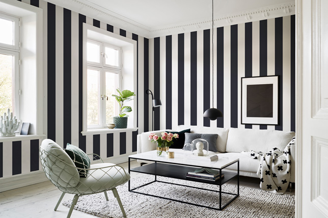Black and white stripes living room wallpaper ideas 2019
