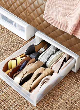 Storage ideas for shoes under the bed
