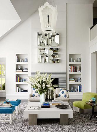 Living room wall decoration ideas mirror