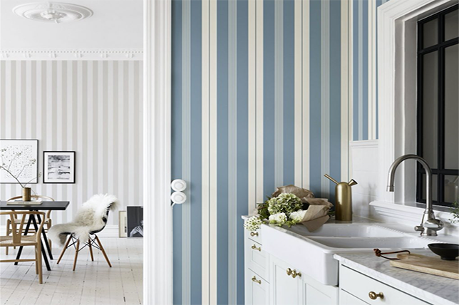 blue striped kitchen wallpaper ideas 2019