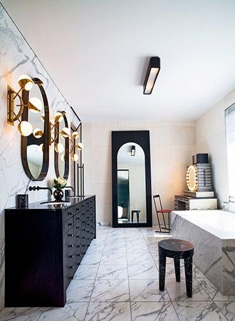 Black and white bathroom ideas lighting