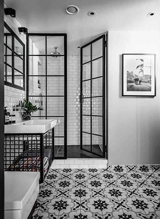 Black and white bathroom idea art