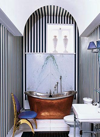 Black and white wallpaper bathroom ideas