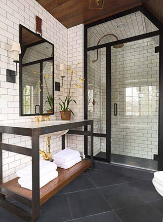 dark wood black and white bathroom ideas