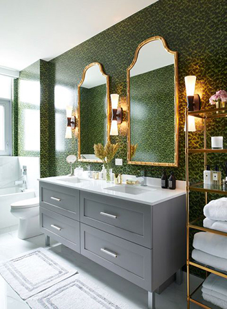 Color combinations for interior design in green and gold