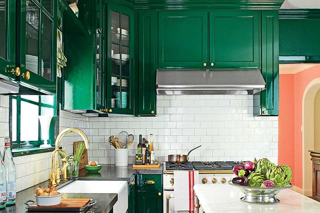 Green cabinets of mid-century modern kitchen