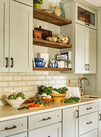 pastel colored kitchen cabinets