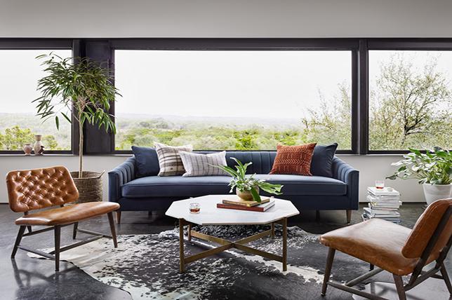Living room rugs made of cowhide