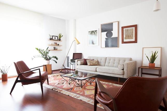 Mid-century modern living room rugs