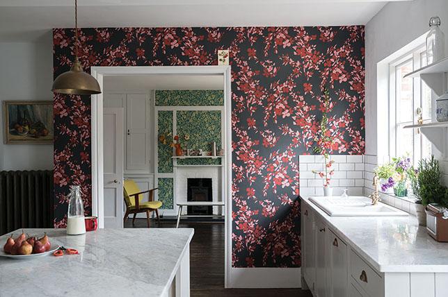 dark floral kitchen wallpaper ideas