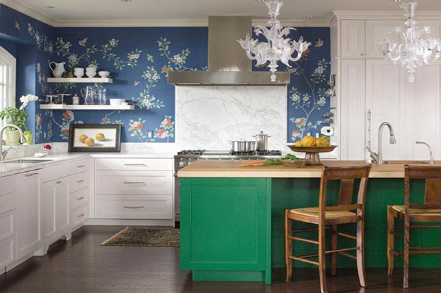 blue floral kitchen wallpaper ideas