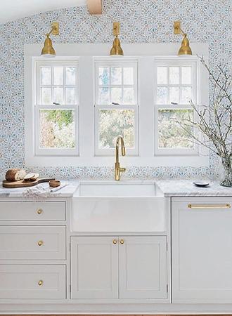 delicate print kitchen wallpaper ideas