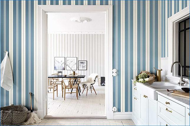 blue striped kitchen wallpaper ideas