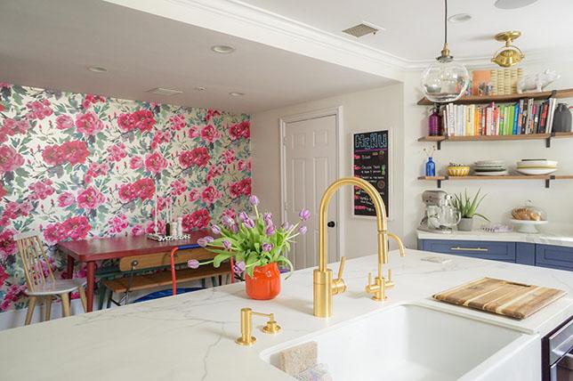 pink floral kitchen wallpaper ideas