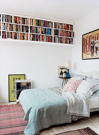 Overhead shelves bedroom storage ideas