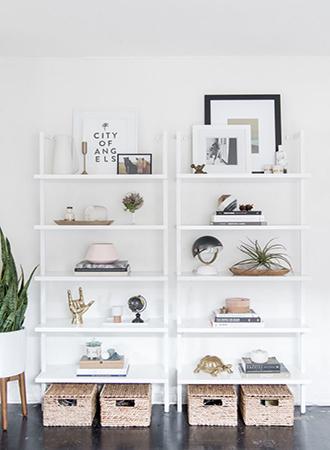 Perimeter shelves bedroom storage ideas