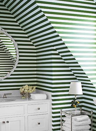 Interesting Striped Bathroom Wallpaper Ideas