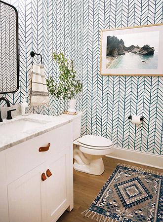 Chevron Bathroom Wallpaper Ideas