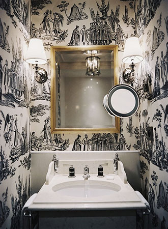 Toile Bathroom Wallpaper Ideas